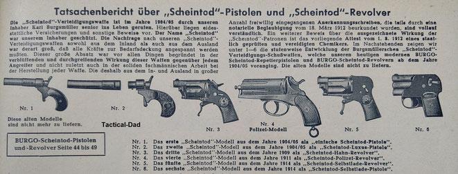 Die Entwicklung der Scheintod Waffen aus dem Burgsmüller Katalog von 1954.