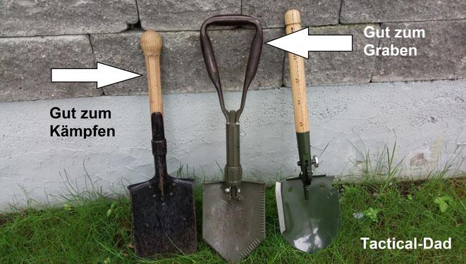 Das links ist mein schweizer Armeespaten von 1943, er dient mir schon lange zur Gartenarbeit und zum Totschlagen von Ungeziefer. Das in der Mitte ist mein alter Bundeswehr Klappspaten und rechts der Chinlin Survivalspaten.