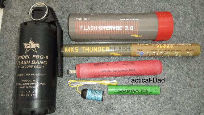 TAGinn Flashbang, Enola Gaye Flash Grenade 3.0, MK5 Thunder Flash, Weco Kanonenschlag, Cobra P1 Schallerzeuger und Bühnenknall.