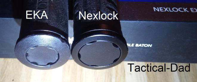 Ein weiter Vorteil des Nexlock Schlagstocks ist der größere Knopf an der Unterseite.