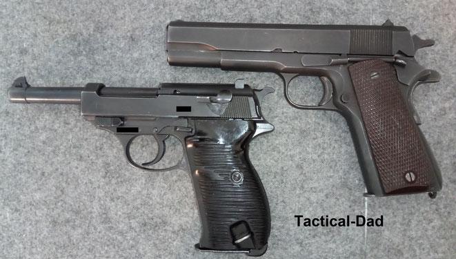 Die Walther P38 und P1 war die Standardpistole der deutschen Streitkräfte, von 1938 bis etwa zur Jahrtausendwende. Die Colt 1911 war bis etwa 1985 Armeepistole der USA. Auf dem Foto ist eine Ithaca 1911 A1 von 1944.