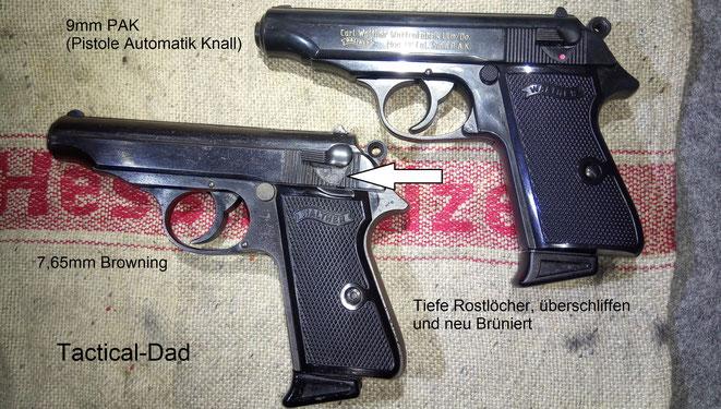 Die Walther PP in 7,65mm seht Ihr links und die moderne Schreckschussvariante von mit der PTB Nummer 620 rechts.
