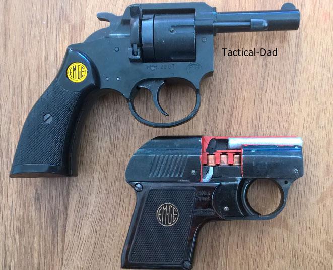 EM-GE 22 GT 6mm Revolver. Der Lauf eigenet sich wie bei der EM-GE Pistole zum Verschießen diverser 7mm Vorsatzhülsen oder Leutsterne