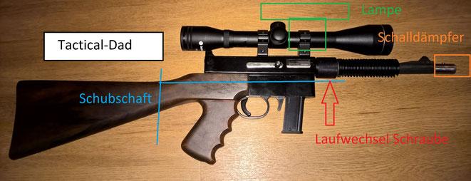 Der Landmann Preetz JGL-Automat ist ein klassisches Wilderergewehr. Dieser hier ist aus meiner Sammlung.