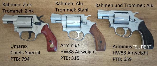 Hier ist ein Vergleich zum Umarex Chiefs Special. Der Umarex wiegt 487 Gramm, der Airweight 383 Gramm und der Super Airweight wiegt 275 Gramm.