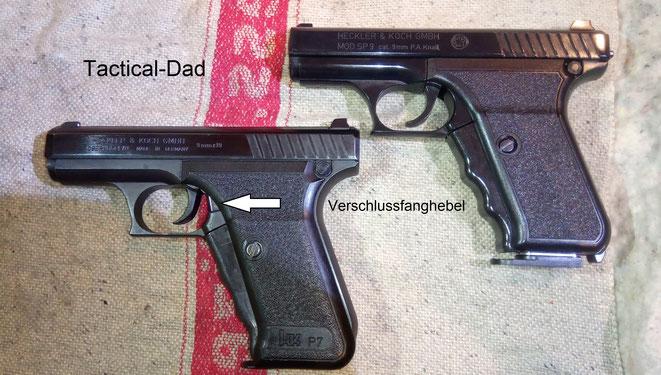 Links seht Ihr die P7 von Heckler & Koch, Rechts ist die sehr gute Kopie Umarex SP9 von Umarex.