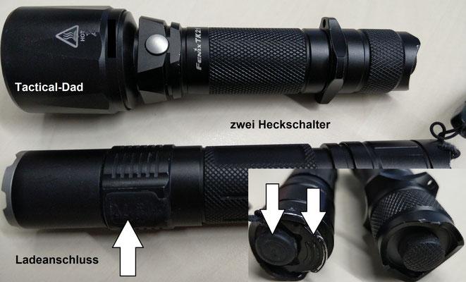 Taschenlampen der aktuellen Generation: Fenix TK21 und Klarus XT2CR. Die Lampen haben Lithium Akkus und die Klarus z.B. einen Ladeanschluss und einen zweiten Heckschalter für den (nutzlosen) Strobo.
