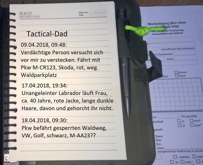 So etwa sollten einfach Notizen zu verdächtigen Beobachtungen aussehen. Auch ein Jahr später muss man noch etwas damit anfangen können. Kennzeichen und Fahrzeugbeschreibung gehören immer zusammen, damit die Polizei es auf Richtigkeit prüfen kann.