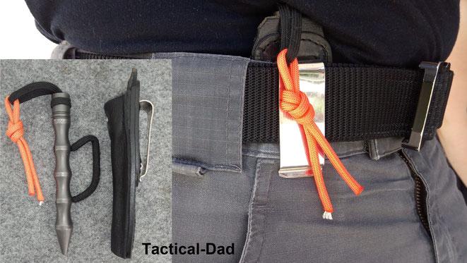 Mit diesem Holster könnte ich meinen Blackfield TCK Koppo auch Appenix-Inside tragen. Das würde aber auch mit jedem Tactical-Pen ohne Holster gehen und ich habe diese Trageweise noch nie angewendet.