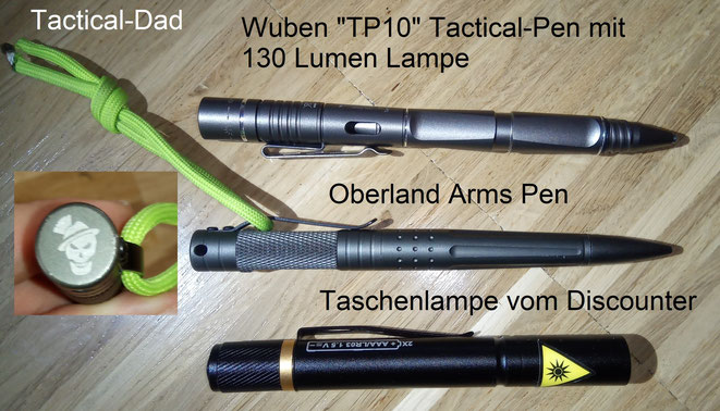 Der Wuben TP10 ist ein Tactical-Pen mit eingebauter Lampe und viel Potential, den Oberarms Pen habe ich schon länger und ich bin sehr zufrieden damit.