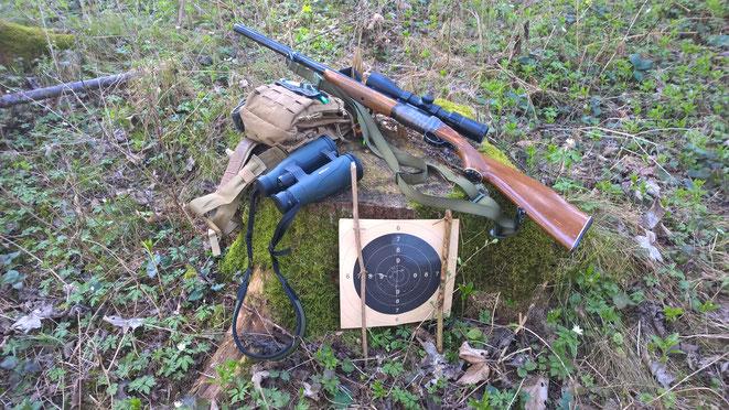 Die Viper Sling-Bag mit DDoptic Fernglas und meiner Atlas Bockbüchsflinte beim Anschießen