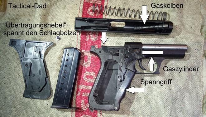 Der Spanngriff und die Gasbremse kennzeichnen die recht einzigartige P7. Gasbremsen findet man sonst nur noch bei der Walther CCP, der Steyr GB, der Norinco 77 b und der Vektor CP1 Pistole.