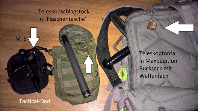 TT Tasche mit MTS, Monadnock Autolock in einer Flaschentasche und Monadnock Teleskoptonfa im Waffenfach eines Rucksacks.