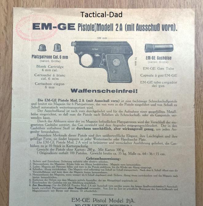 Werbung für die EM-GE 2a Gaspistole