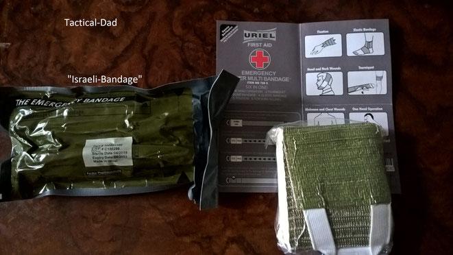 """Das ist die sehr gute und weit verbreitete """"Israeli Bandage"""" (oder auch """"Emergency Bandage). Man kann sie einhändig anlegen!  Daneben ist der Uriel Verband."""
