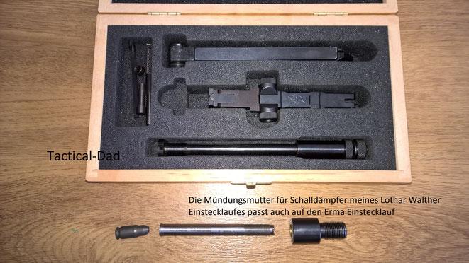 Das Erma Set beinhaltet einen Einstecklauf, Wechselverschluss, KK Magazin, einen Bolzen für den Verschluss und zwei Werkzeuge.
