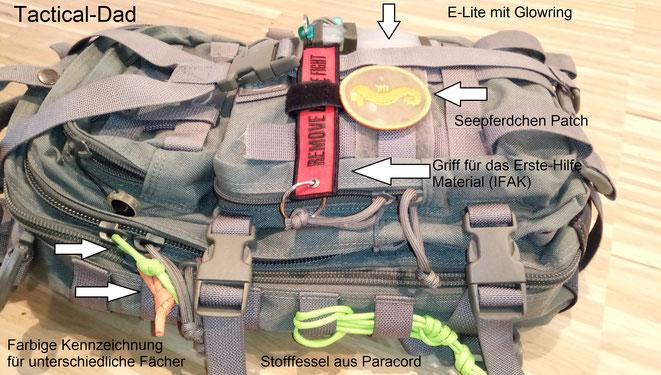 Mein Rucksack ist schon seit vielen Jahren der Maxpedition Falcon 2. Das vordere Fach eignet sich zur Unterbringung eines IFAK ohne extra Tasche.