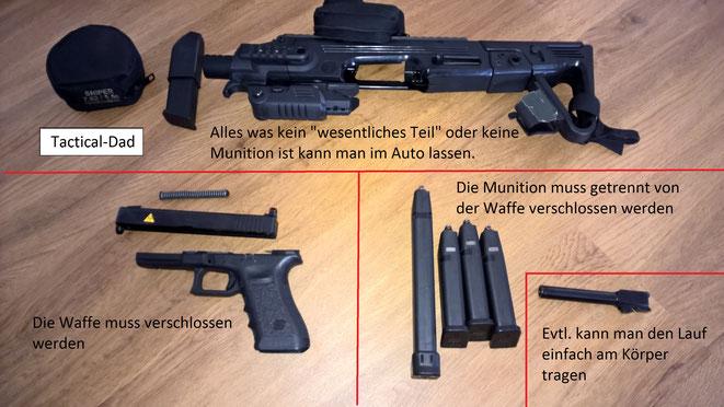 Das Roni für die Glock kann man bedenkenlos im Auto lagern. Den Lauf einer Pistole kann man evtl. entfernen, wenn ein Hotel keine Tresore hat.
