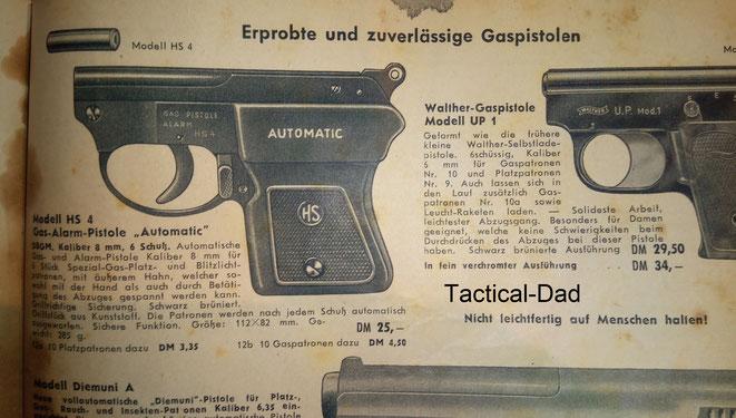Im Burgsmuller (BURGO) Katalog von 1957 wurde die HS4 Gaspistolefür 25 Mark angeboten.