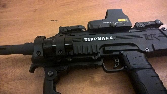 Tippmann TCR mit Pfefferspray montiert. Mehr zu dem Pfefferspray findet Ihr HIER.
