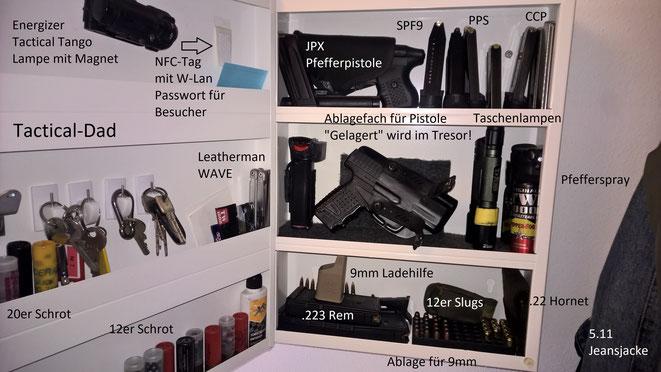 WBK pflichtige Waffen lagert man natürlich im Tresor! Für die Aufbewahrung von Munition oder frei verkäuflichen Waffen reicht aber ein IKEA Schlüsselkasten (Medikamentenschrank).