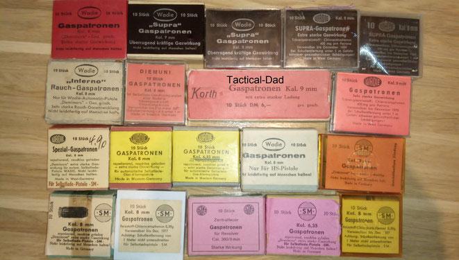 Eine kleine Auswahl aus meiner Gaspatronen Sammlung. Bedenkt, dass vieles davon nicht frei verkäuflich ist.