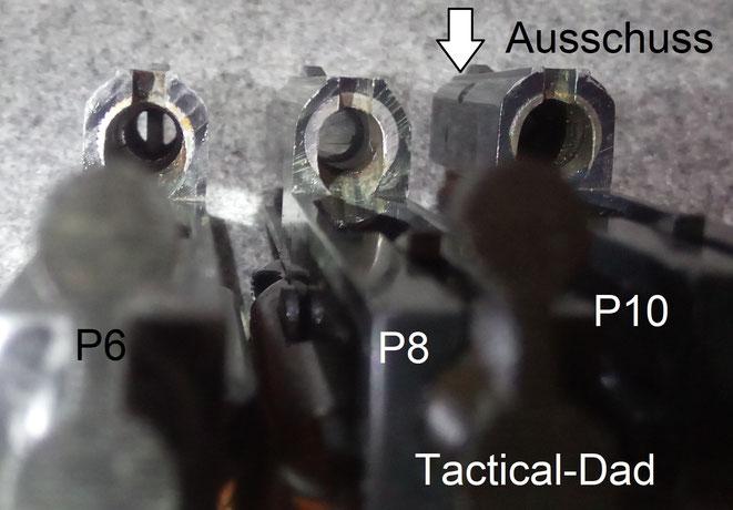 Alle Reck Pistolen haben eine Stahleinlage im Patronenlager. Die Läufe der SSW sind aus Zink. Die scharfe Pistole hat einen in Zink gebetteten Stahllauf.
