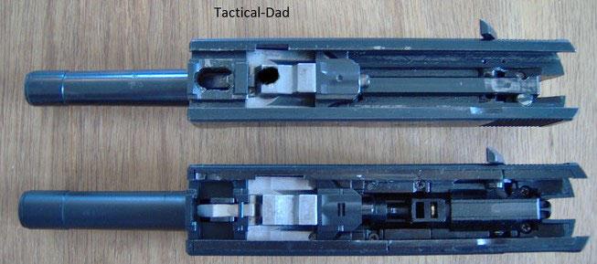 Die Airsoft Maruzen P38 weißt sogar den originalen Verschlussblock auf der den Verschluss verriegelt.