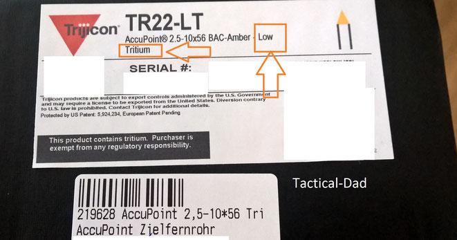 """Beachtet auf der Schachtel vom Trijicon TR22-LT die Aufschrift """"Low Tritium""""."""