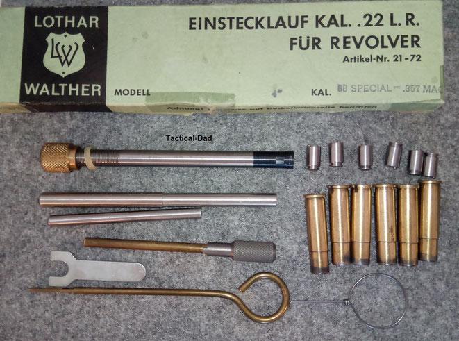 Revolver Einstecklauf von Lothar Walther für 4 Zoll Revolver im Kaliber .357 Magnum auf .22 lfB mit PTB Zulassung.