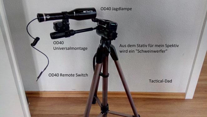 Mit dem Universaladapter kann man die OD40 auch an Stativen oder Ferngläsern befestigen, was vor allem natürlich für die Nachtjagd auf Schwarzwild relevant und teilweise bereits allgemein erlaubt ist.