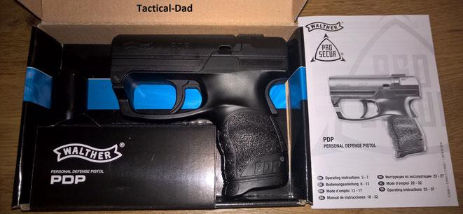 Die Walther PDP Pfefferpistole in schwarz.