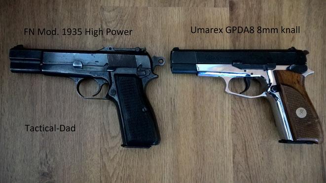 Hier seht ihr ein Vergleichsfoto einer scharfen FN High Power Pistolen aus meiner Sammlung mit der GPDA8 Schreckschusspistole.