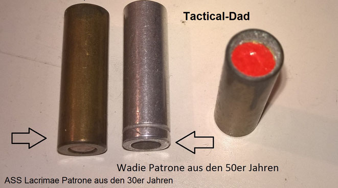 8mm Lacrimae Gaspatronen für die ASS Pistole aus Messing aus den 30er Jahren.
