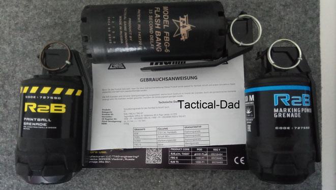 Die TAGinn Paintball Granate, die Flash Bang und die Marking Powder Grenade haben alle EU Zulassungen für Pyrotechnik.