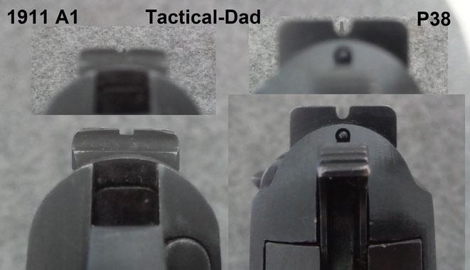 Die Visierung der 1911 A1 Armeepistole ist sehr fein. Das Visier der Walther P38 bietet mehr Kontrast und lässt sich bei schlechten Lichtverhältnissen besser erfassen.