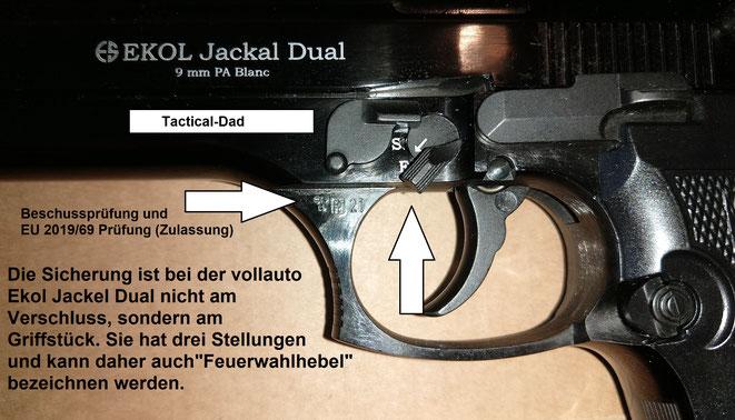 Der Sicherungshebel am Verschluss der vollautomatischen EKOL Jackel Dual ist ohne Funktion. Sie hat einen Feuerwahlhebel am Griffstück, weil sie innen ganz anders aufgebaut ist, als die halbauto Versionen.