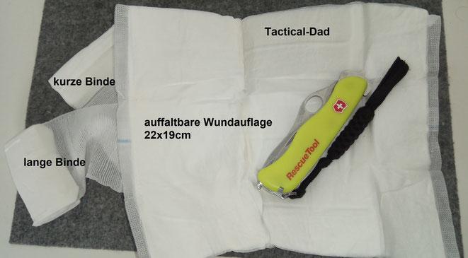 Das Verbandpäckchen der schweizer Armee erscheint mir durchdachter und universeller als die der Bundeswehr. Ich werde sie guten Gewissens in meine Erste-Hilfe Sets aufnehmen.