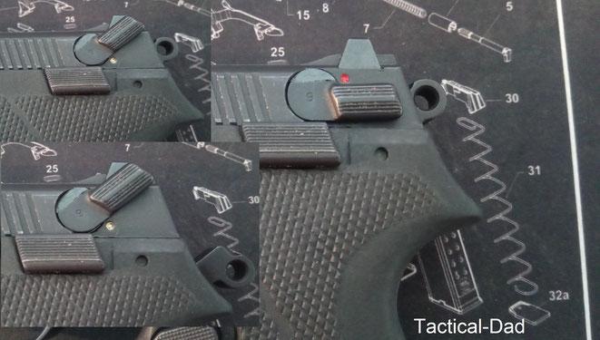 Das Sicherungssystem der Ultrastar Pistole erlaubt einige Optionen und die Waffe kann theoretisch auch gespannt und gesichert geführt werden. Wenn man den Hebel noch weiter hoch drückt entspannt die Pistole.