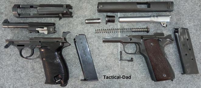 Die P38 der Wehrmacht besitzt in feldmäßig zerlegtem Zustand nur 4 Teile. Die 1911 Pistole dagegen 9. Das ist ein relevanter Vorteil für eine Militärpistole.