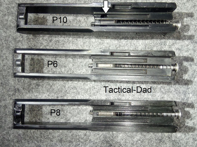 Beachtenswert ist, dass keine der Pistolen einen Stahlstoßboden hat. Die Verschlüsse sind baugleich, bis auf die kleinen Aussparungen bei der P10 Startpistole.