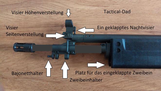 Der Mündungsfeuerdämpfer eignet sich auch für Gewehrgranaten. Mündungsaufsätze waren für die IDF immer sehr wichtig, zum Verschießen von Tränengas oder Gummigeschossen.