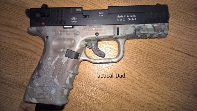Die ISSC M22 Pistole in 9mm PAK ist eine der hochwertigsten SSW die es derzeit bei uns gibt. Die Sicherung hat eine integrierte Entspannfunktion.