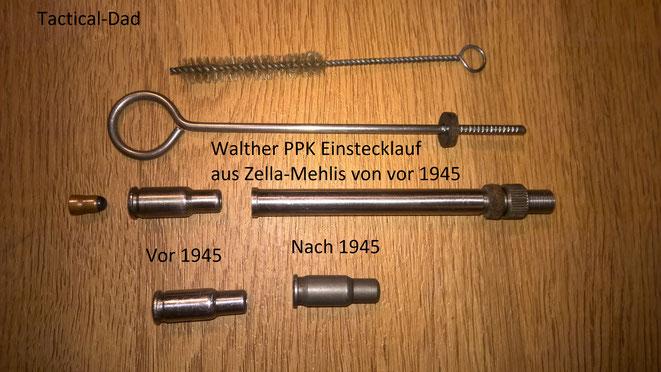 Dieser Einstecklauf für eine 7,65mm Walther PPK stammt noch aus der Zeit vor 1945 aus Zella Melhis. Die Reduzierpatronen (links) sind an der Mündung etwas anders geformt.