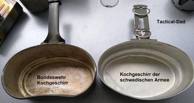 Egal ob man das schwedische oder das Bundeswehr Kochgeschirr verwendet, beide sind gut und schon lange bewährt.