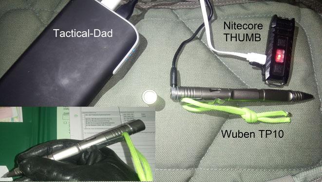 Zum Laden des Wuben TP10 schraubt man die LED ab und bekommt Zugang zum USB Anschluss. Eine winzige Idikator LED zeigt den Ladezustand an. Darüber ist die sehr gute Nitecore THUMB.