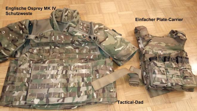 Hier sieht man gut den gewaltigen Unterschied in der Schutzwirkung eines einfachen Plate Carrier, zu einer schweren SK4 Schutzweste. Die komplette Weste deckt viel mehr vom Körper ab.