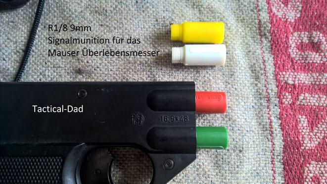 Die Signalsterne für das Mauser Überlebensmesser passen in die Walther SP Signalpistole.