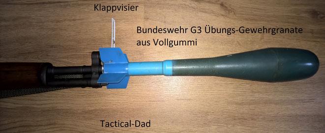 Da der FR8 mit dem Cetme B und C und dem G3 verwand ist passt darauf auch die alte Bundeswehr Übungs-Gewehrgranate.