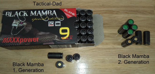 Die Black Mamba 9mm PAK Kartuschen wurden zuerst komplett schwarz verkauft. Etwas später wurde die Kappe zum einfacheren Erkennen jedoch grün, wie bei fast allen Knallkartuschen.
